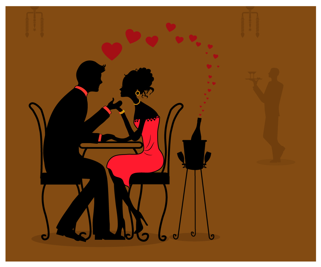 ディナーを楽しむカップルのシルエット Romantic dinner silhouette couple イラスト素材