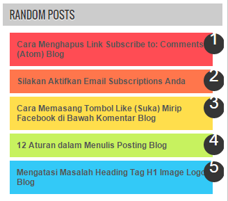Cara Menampilkan Widget Random Posts Blog Berwarna
