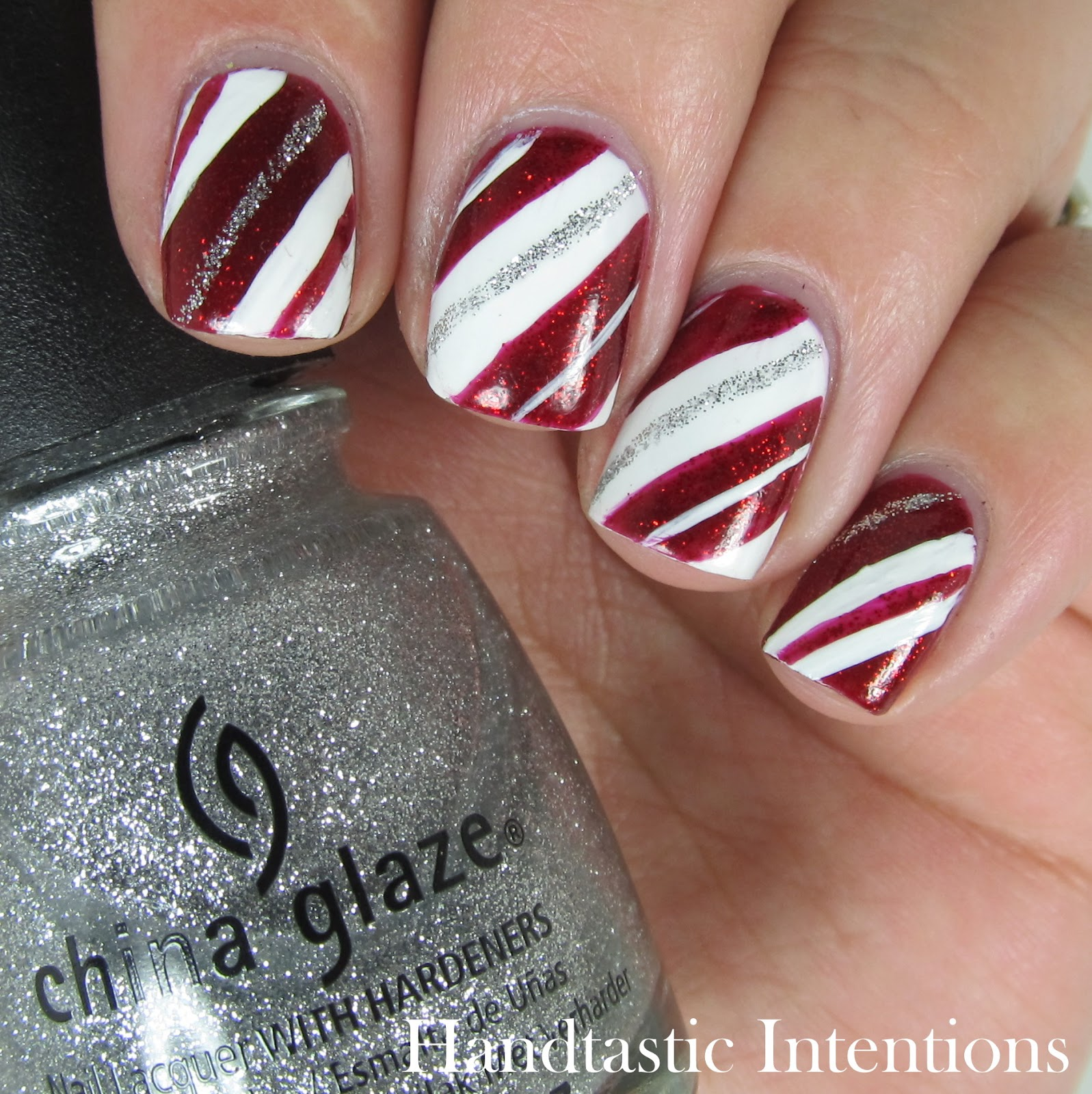 Candy cane nail designs graham reid diy christmas nail art xmas candy cane nails bows view images prinsesfo Choice Image