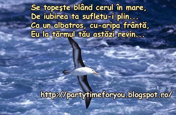 Se topeşte blând cerul în mare, De iubirea ta sufletu-i plin... Ca un albatros cu-aripa frântă,  Eu la ţărmul tău astăzi revin...