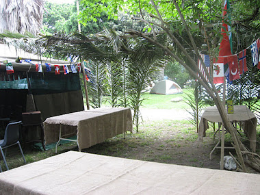 Sukkot camp sukkah (handmade and big tent on left hand side)