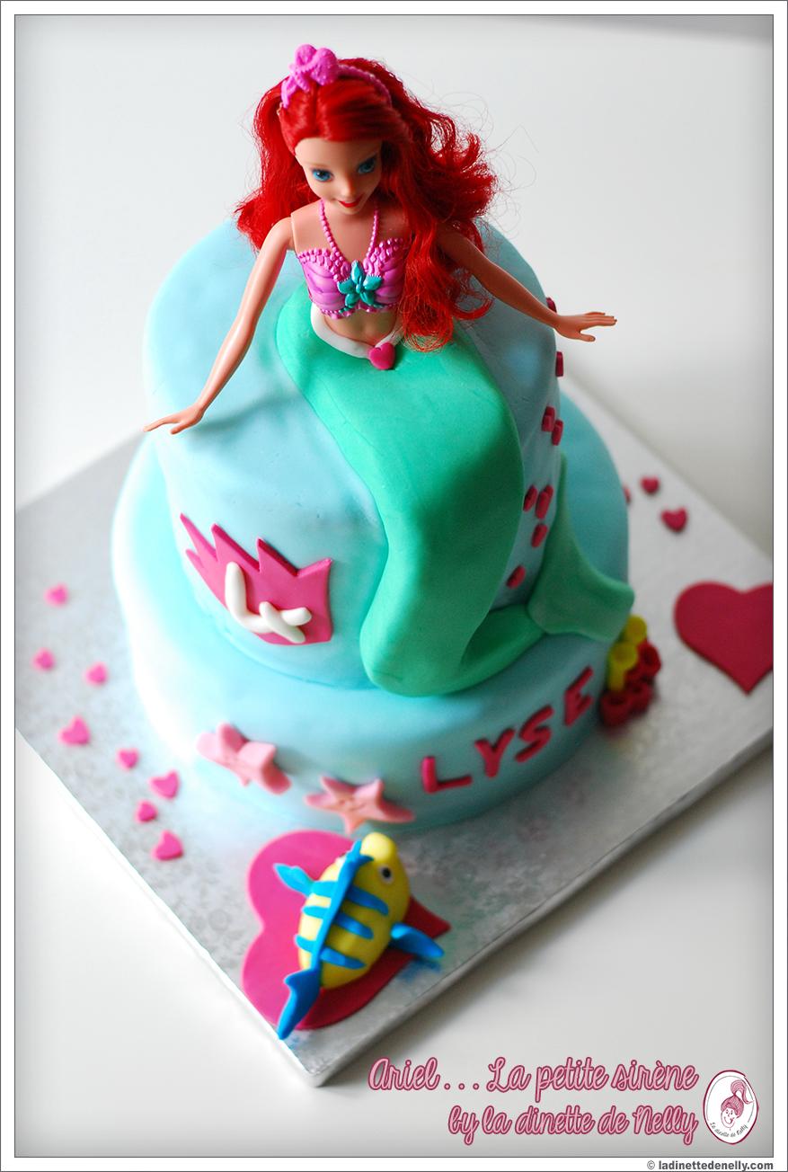 La dinette de nelly g teau ariel la petite sir ne avec la vraie barbie - Ariel petite sirene ...