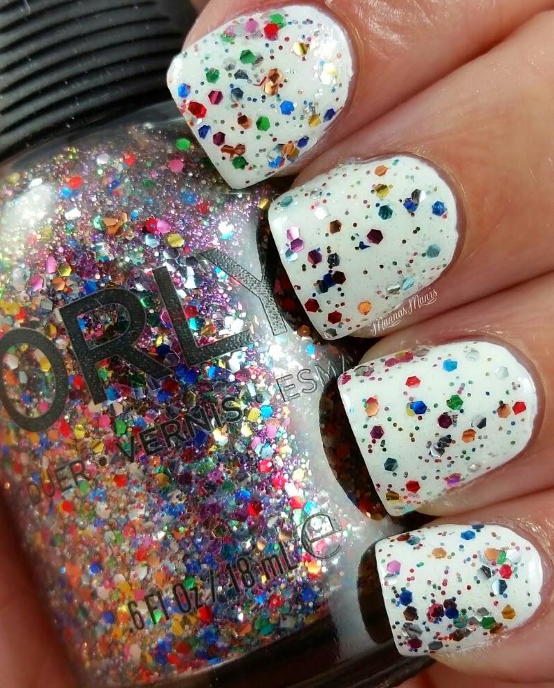 orly glitterbomb, a multicolored glitter nail polish