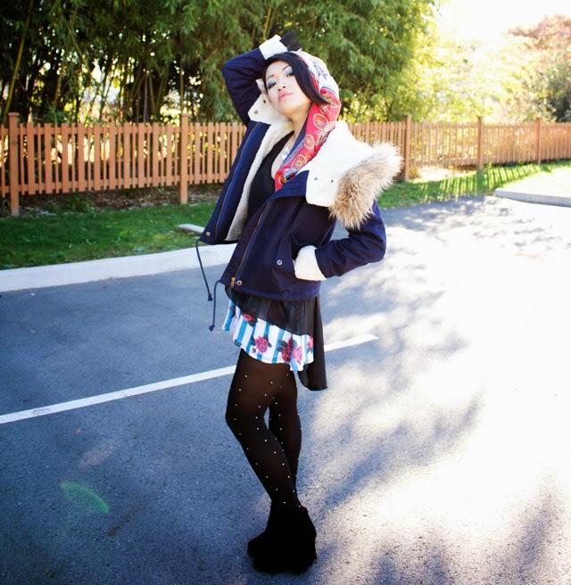 Vancouver fashion blogger jasmine zhu, sheer black top, blue floral shorts, studded tights, blue furry jacket