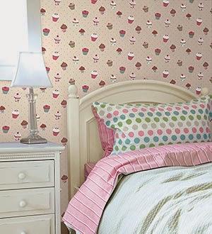 Cupcake wallpaper in a girls room
