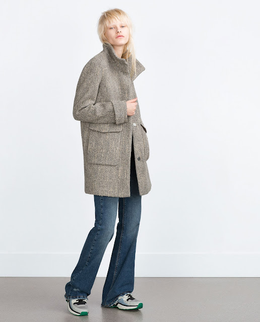 zara trf grey coat, zara herringbone grey coat,