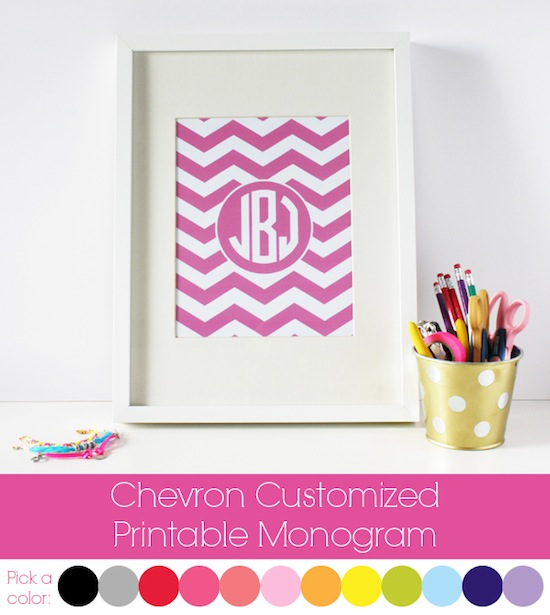 Callaway designs chevron monogram print decor for Printable monograms