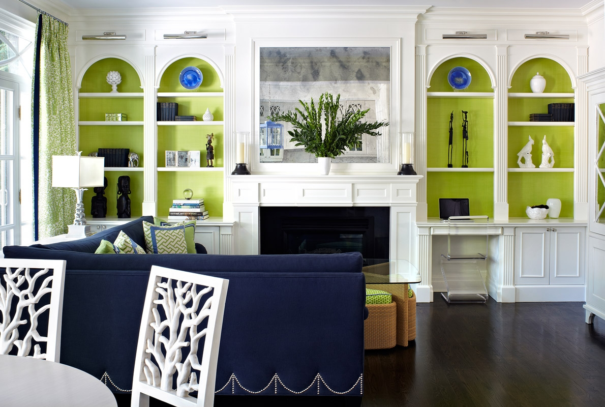 Color crush navy green driven by decor for Green and blue living room decor