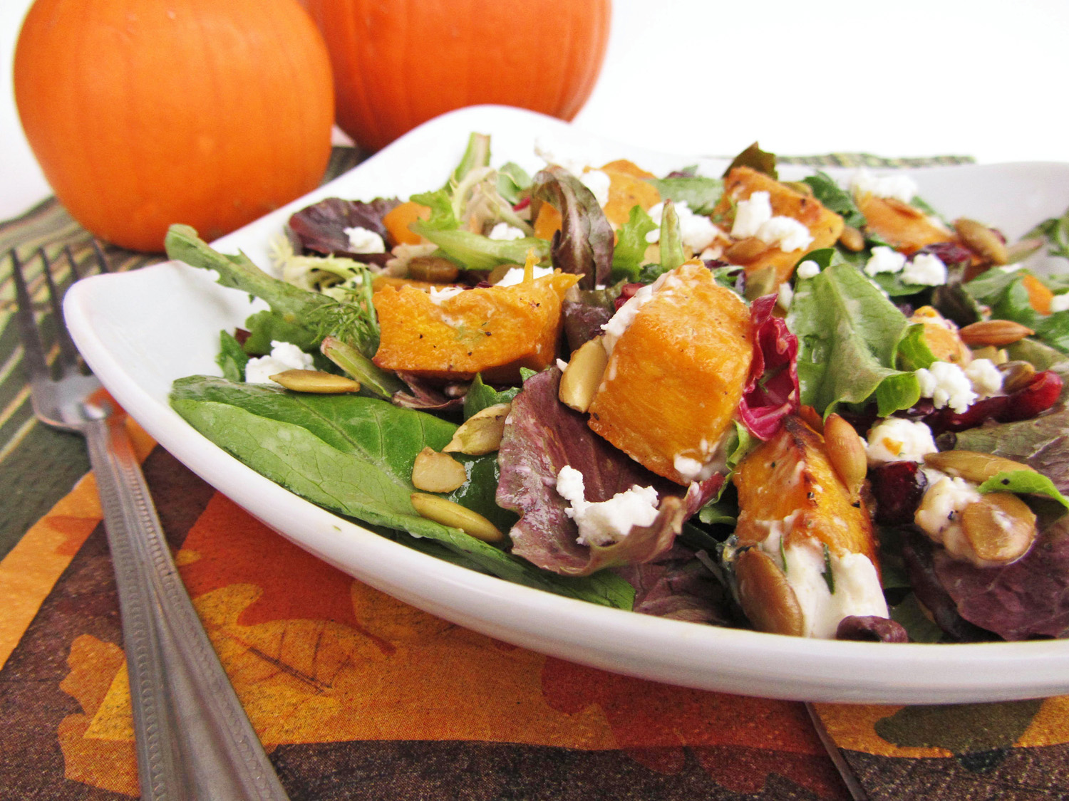pumpkin cranberry goat cheese salad