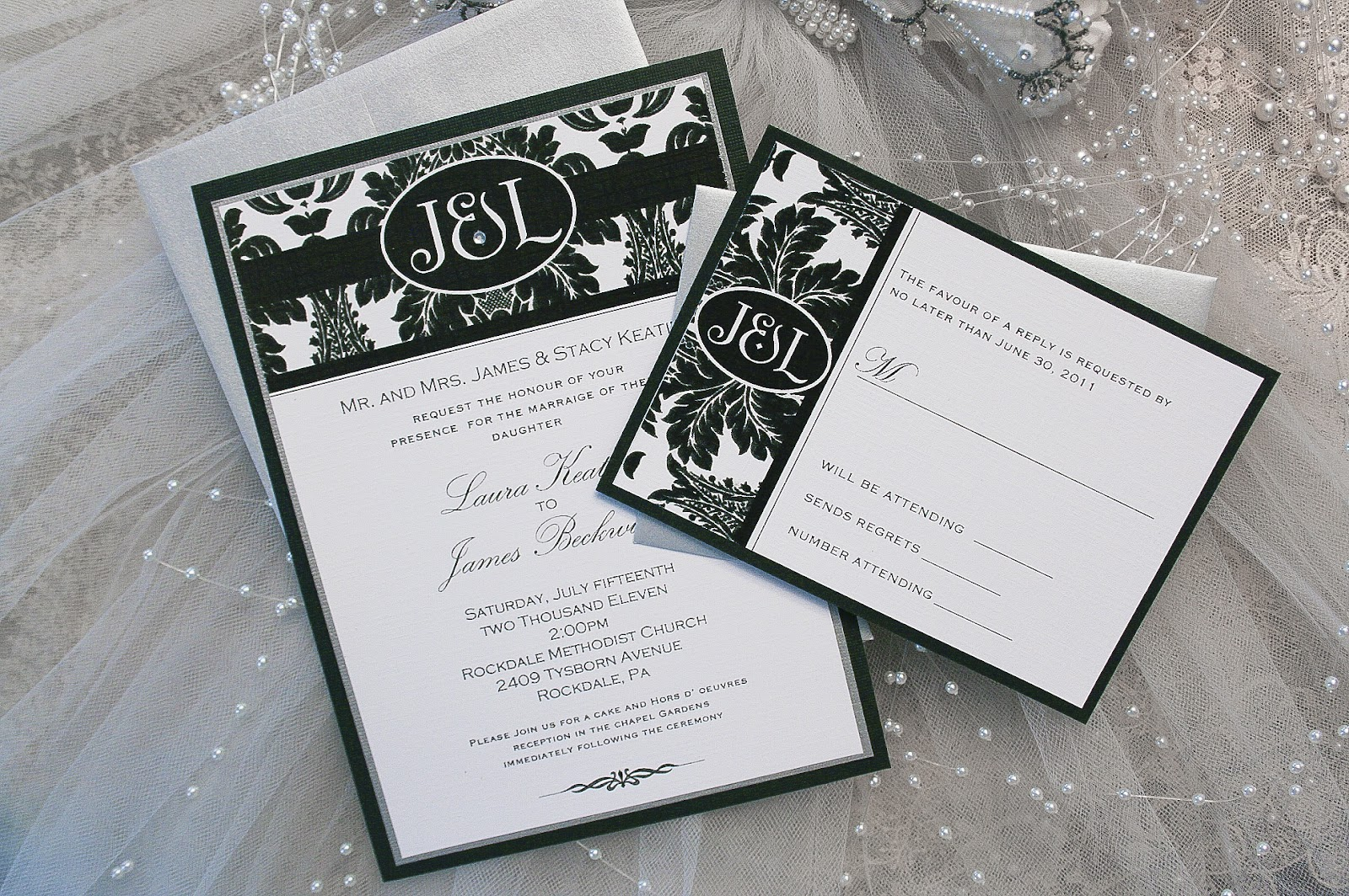 Fischer studio works invitation collection a black tie affair black damask wedding invitation also available in other colors to match your event filmwisefo