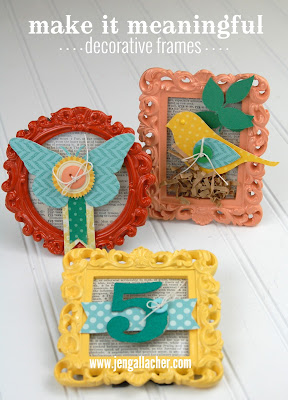 3 Decorative Paper Craft Frames by Jen Gallacher: http://jengallacher.blogspot.com/2014/11/handmade-decorative-frame-gifts.html