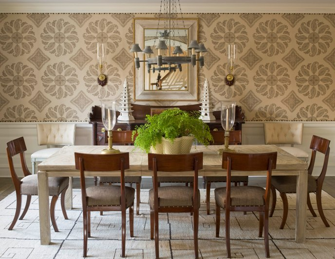 rectangular set chairs table dining room wallpaper chandelier