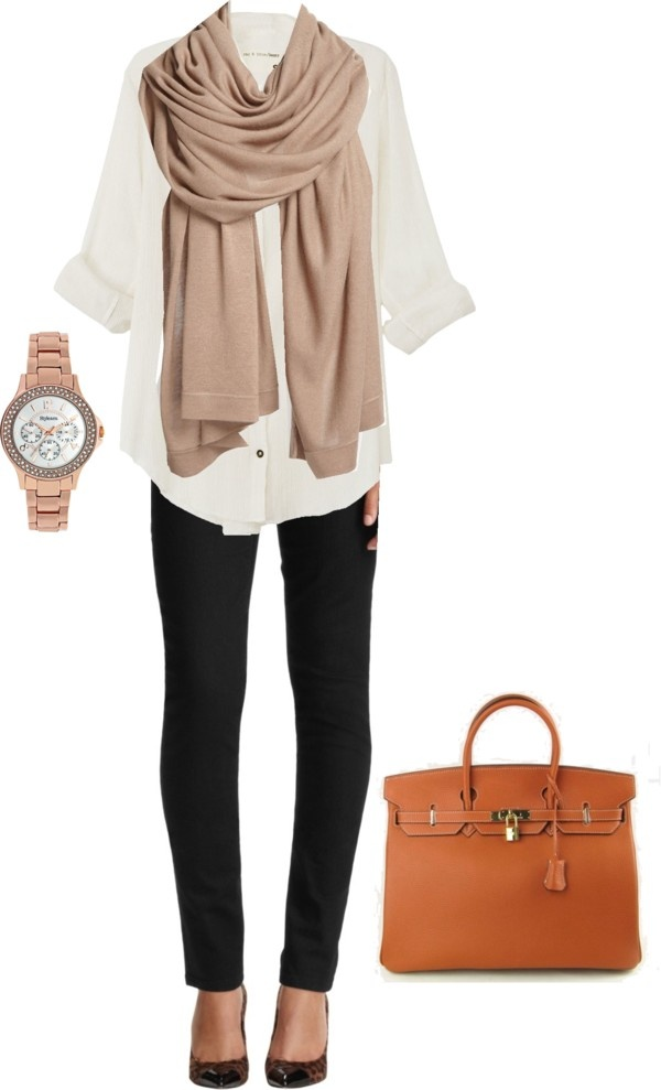 Winter scarf, white shirt, wrist watch, black pants and hand bag