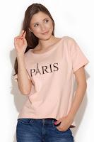 Bluza tinereasca, de culoare roz-prafuit, cu imprimeu grafic ( )