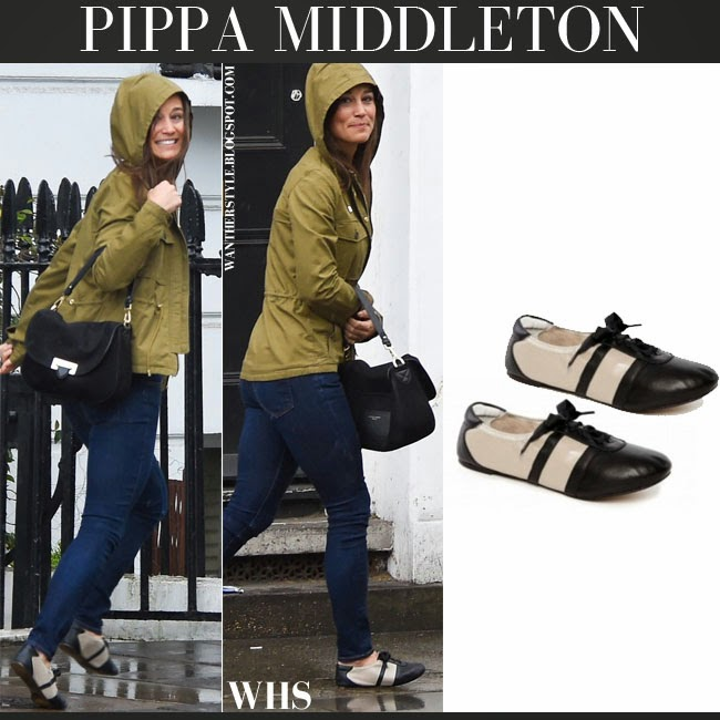 Pippa Middleton in khaki green Fay jacket, blue skinny jeans, black Aspinal of london saddle bag and two tone flats want her style april 2015 chic fashion