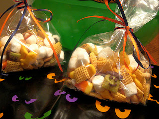 snack mix in a bag with orange ribbon