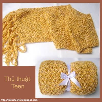 Học cách đan khăn len kiểu hạt gạo 1