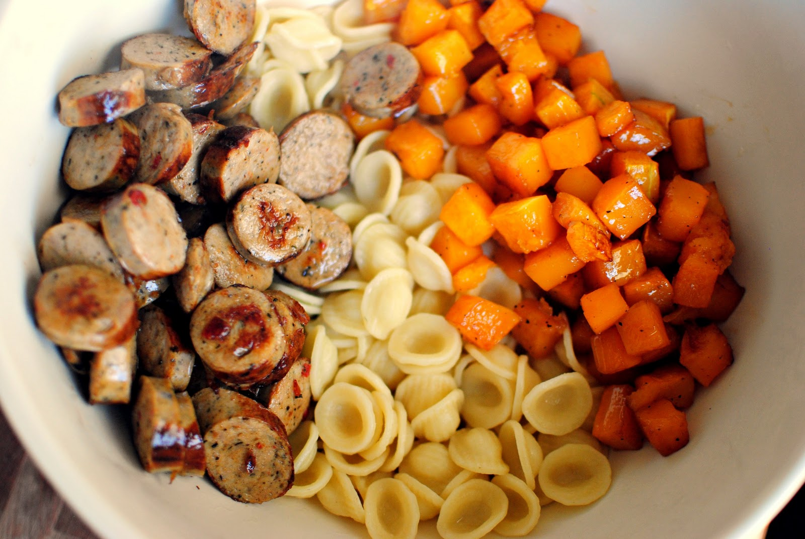 ... ; add the cooked pasta, chicken sausage and roasted butternut squash