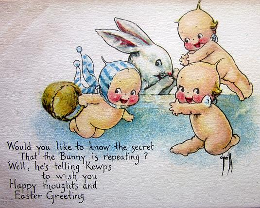 Rose o'neill, kewpie dolls, holiday card, easter