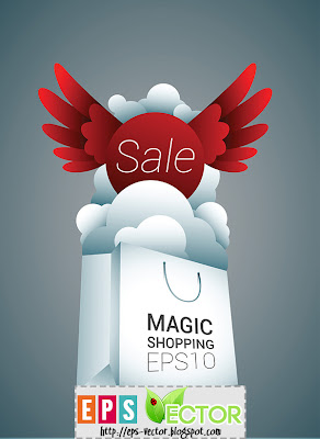 [Vector] - White shopping bag with red sale sign