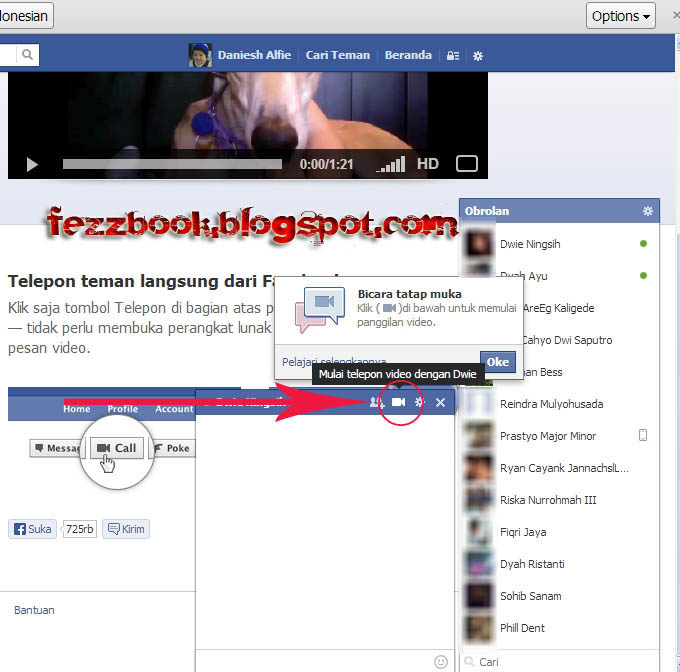 Jika di browser belum terpasang plugin facebook video calling