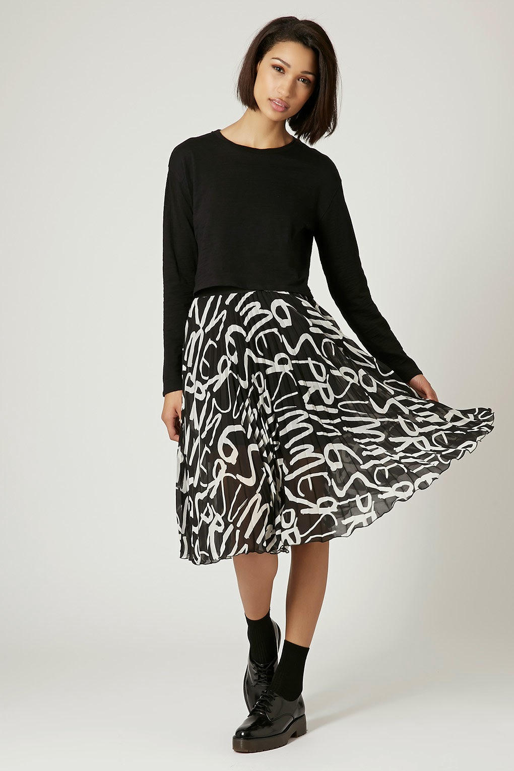 black white flare skirt