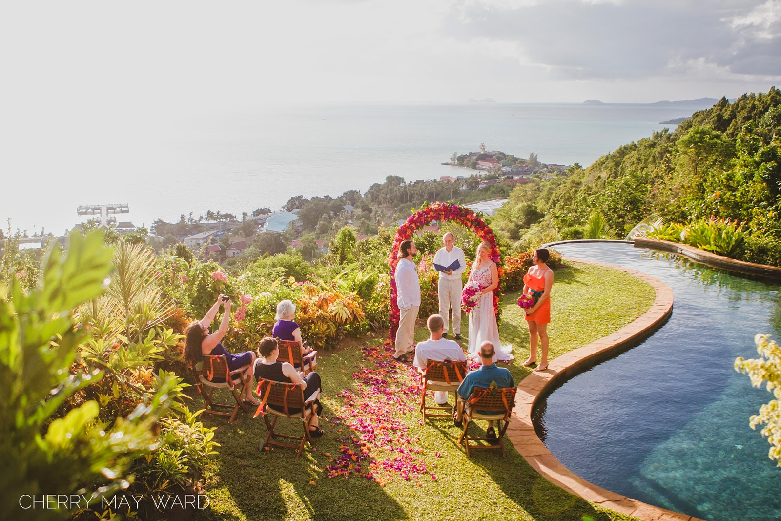 Destination wedding in Thailand, Intimate villa wedding on a hill, Koh Samui intimate wedding ceremony, Thailand wedding ceremony, small wedding in Thailand, wedding with a view, destination wedding with a view