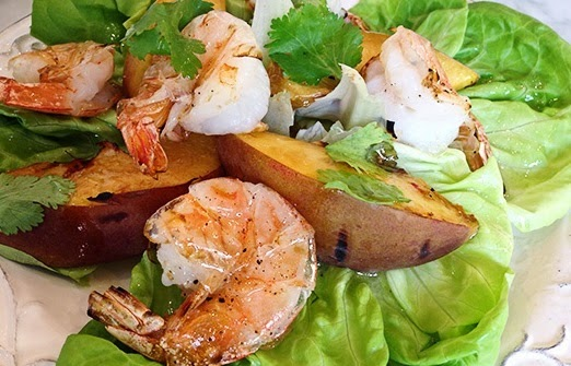 Recipe For Grilled Shrimp with Peaches and Lettuce.