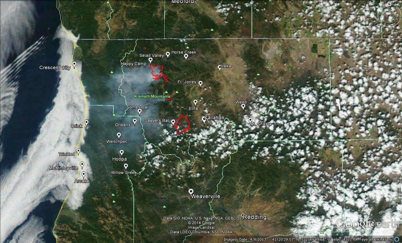 monday august 25 2014 modis satellite image of klamath wildfire smoke