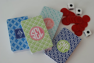 monogrammed koozies, personalized computer sleeve, personalized playing cards, etsy.com