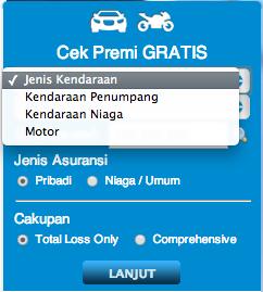 Cantumkan jenis kendaraan anda pada fitur cek premi gratis pada www.rajapremi.com