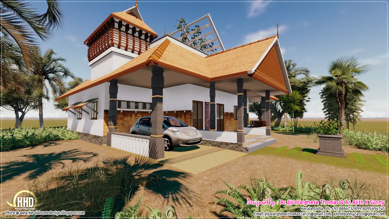 Traditional kerala house in 1200 house design plans for Tradition home