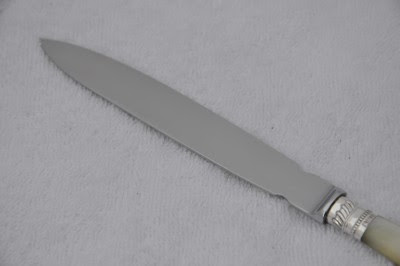 CARVED MOTHER OF PEARL & STERLING SILVER LETTER OPENER SHEFFIELD 1907