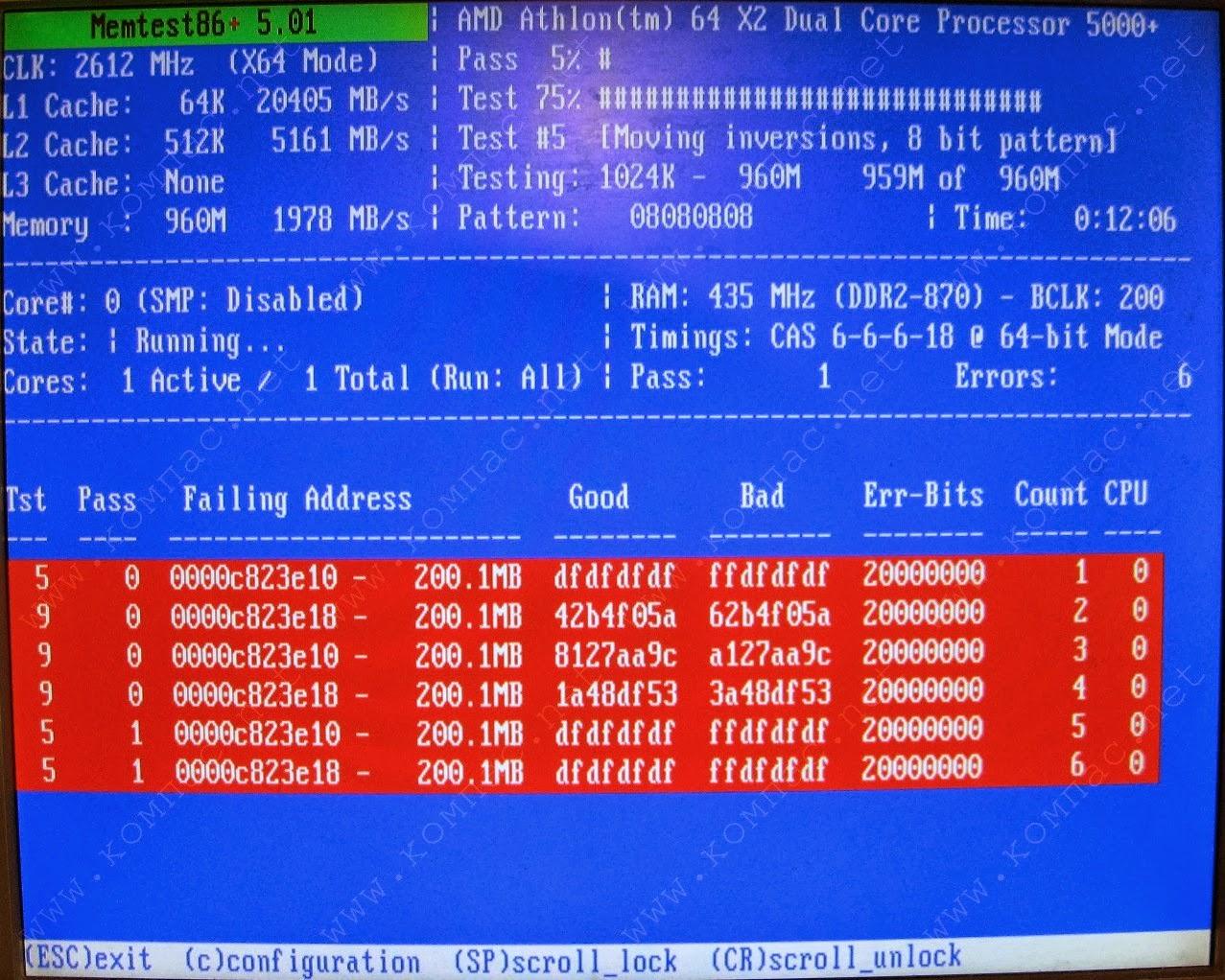 Ultimate Boot CD v5 : Tester son matériel, modifier une partition, supprimer un mot de passe de session, récupération de données... Memtest86_5.01e