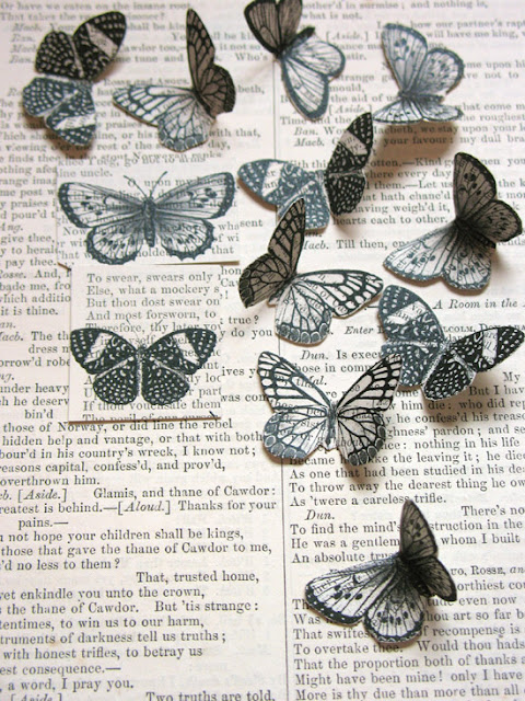 Printing on old books - Butterflies freebie