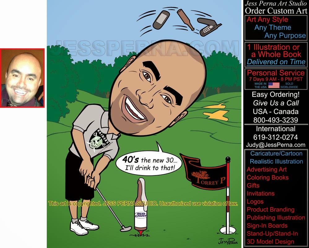 order 40th birthday golfer caricature digital party invitation