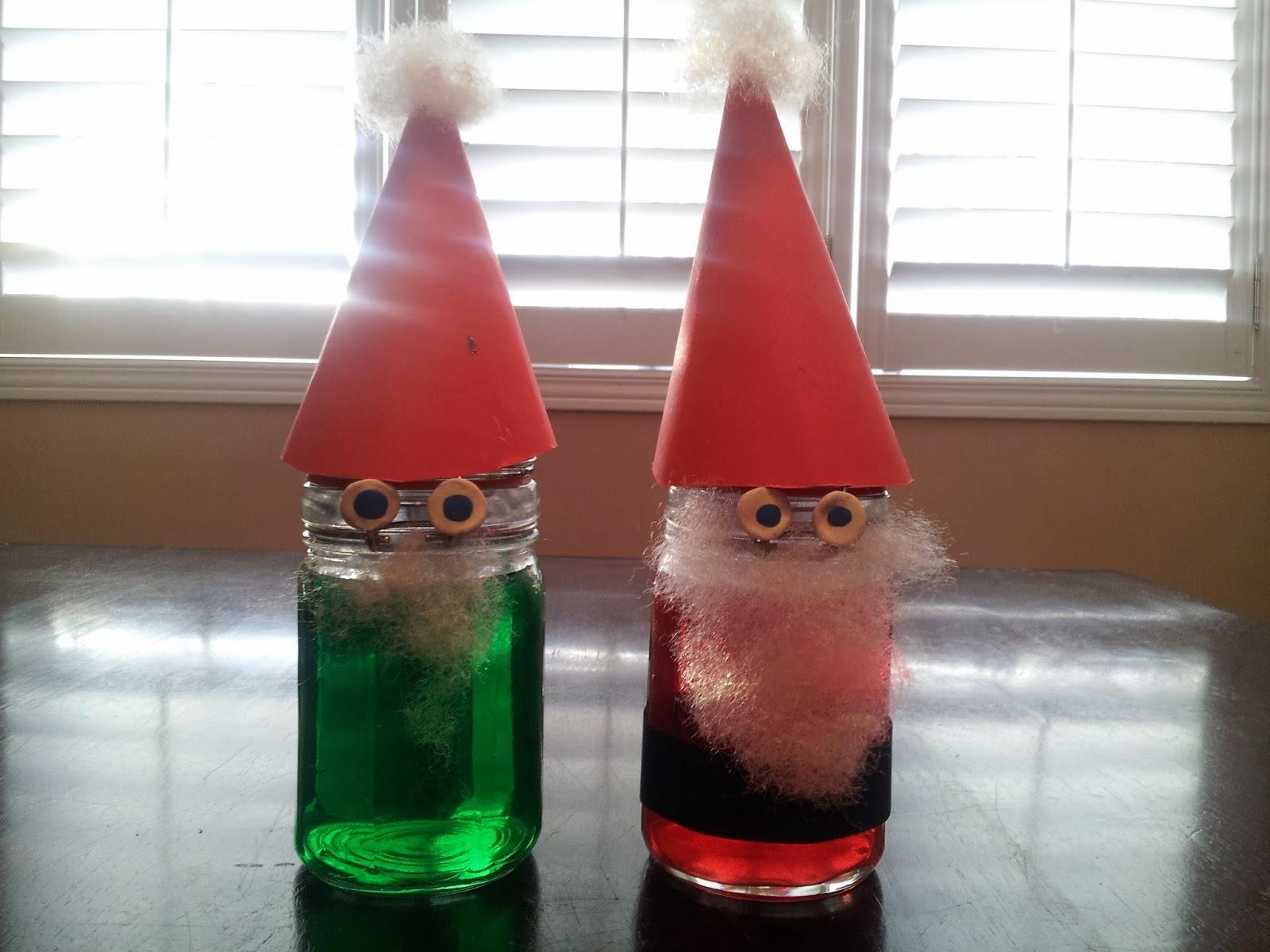 Glass Jar Santa and Elf, crafts, kids crafts