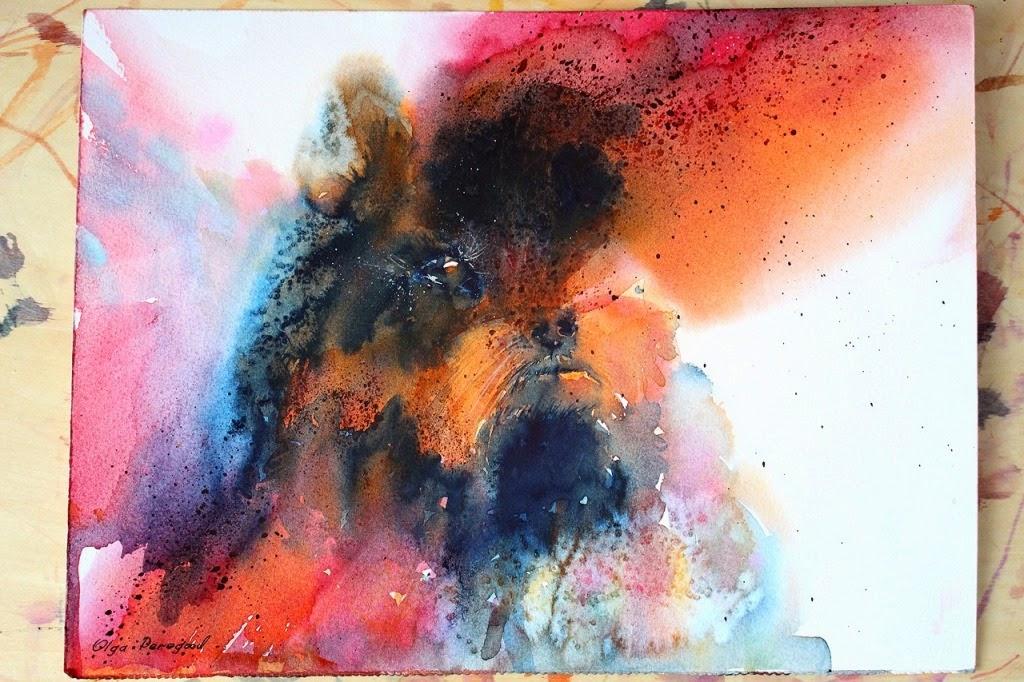 Original dog watercolor by Olga Peregood
