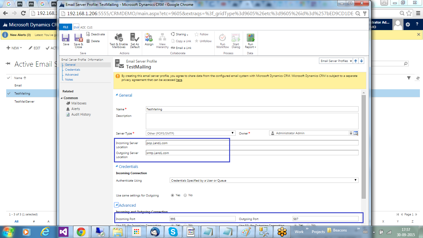 Tech world configure pop3 mail setting in crm - Smtp and pop3 port number ...