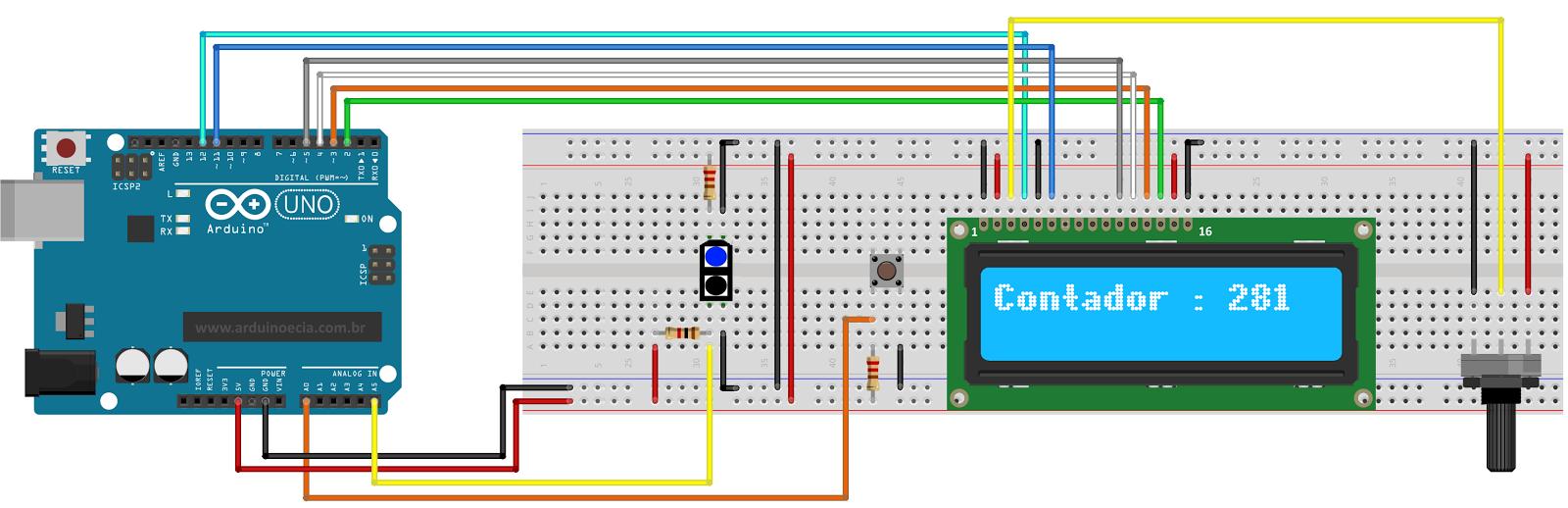 contador lcd 16x2 com botão de reset