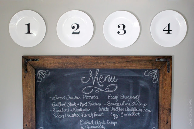 Create a simple numbered plate display and hang them with this inexpensive DIY trick! LoveGrowsWild.com #diy #plate
