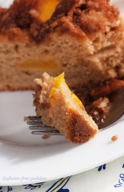 Delicious tender peach cake that is gluten-free