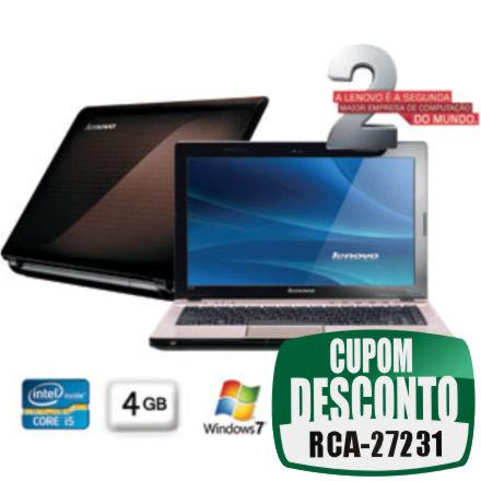 Cupom Efácil - Notebook Lenovo Z470 Core I5