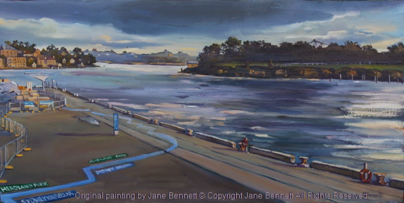 North Barangaroo Headland Park - plein air oil painting of construction of North Barangaroo Headland Park from my studio at Moore's Wharf by marine and industrial heritage artist Jane Bennett