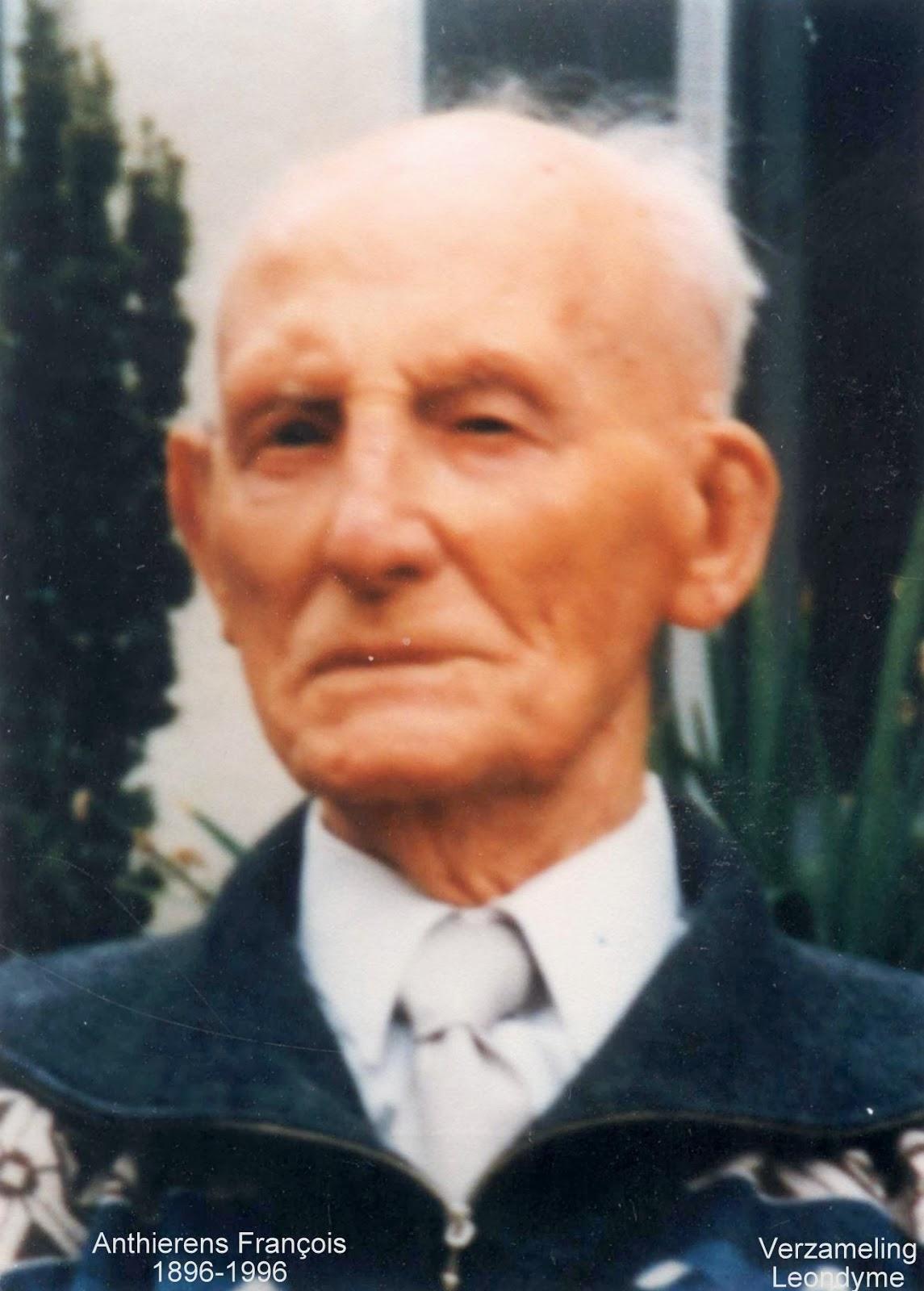 voorzijde bidprentje François Antierens 1896-1996