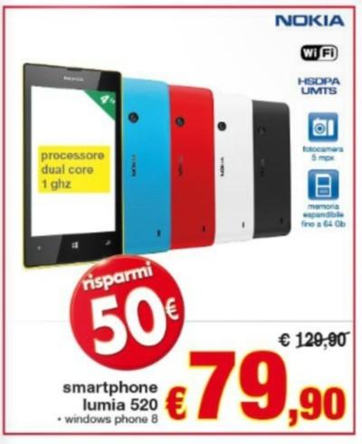In offerta nel volantino Pam il Nokia Lumia 520 a soli 79,90 euro