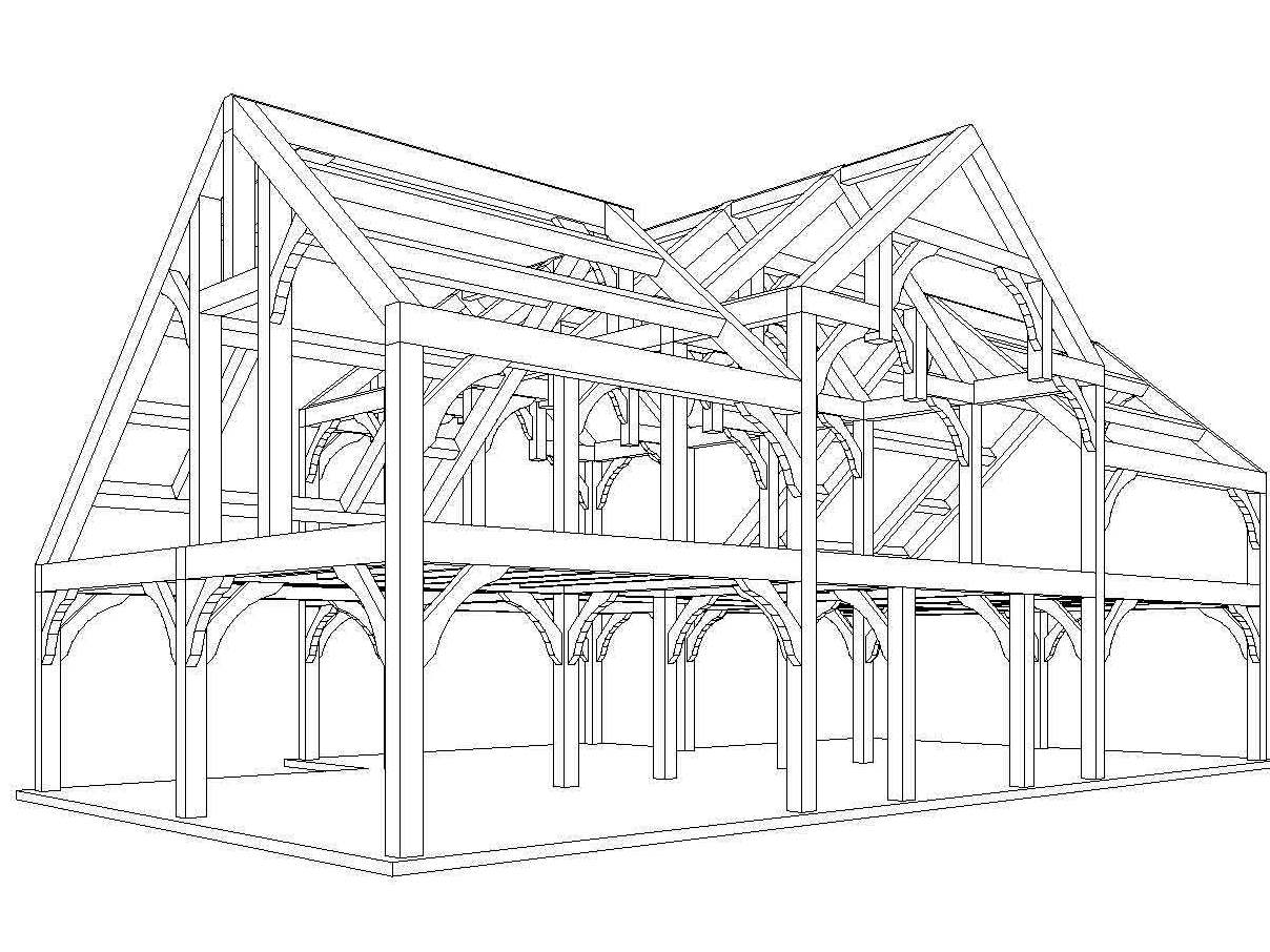 Post and beam sales spring construction of timber frame A frame blueprints