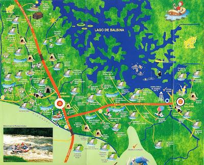 Mapa atrações Presidente Figueiredo - AM