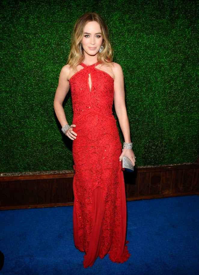 Emily blunt red lace dress
