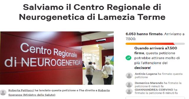 Già oltre 6000 adesioni alla petizione on line lanciata da Roberta Patitucci per salvare la Neurogentica di Lamezia Terme